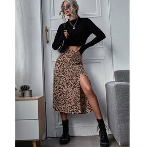 SHEIN Cheetah Print Midi Skirt NWOT